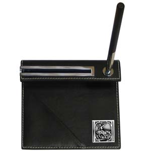 Indian on Horse  Desk Set - Our classic desk set features a slot for a note pad, a slot for your business cards and comes with a stylish pen. The set comes with a metal emblem.