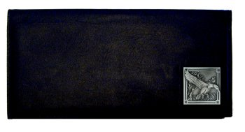 Executive Leather Checkbook Cover - Mallard Ducks - Our Executive Checkbook Covers are made of high quality fine grain leather with a sculpted Mallard Ducks emblem featured on the front panel.