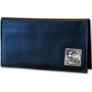 Executive Leather Checkbook Cover - Moose - Our Executive Checkbook Covers are made of high quality fine grain leather with a sculpted Moose emblem featured on the front panel.