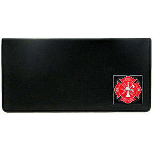 Executive Leather Checkbook Cover - Fire Fighter - Our Executive Checkbook Covers are made of high quality fine grain leather with a sculpted fire fighter emblem featured on the front panel. Check out our entire line of  leather wallets!