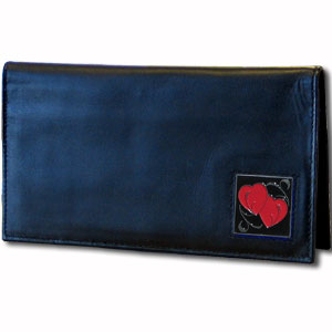 Executive Leather Checkbook Cover - Double Heart - Our Executive Checkbook Covers are made of high quality fine grain leather with a sculpted fire fighter emblem featured on the front panel. Check out our entire line of  leather wallets!