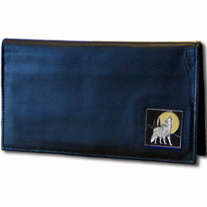 Executive Leather Checkbook Cover - Howling Wolf - Our Executive Checkbook Covers are made of high quality fine grain leather with a sculpted fire fighter emblem featured on the front panel. Check out our entire line of  leather wallets!
