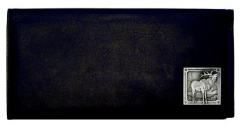 Executive Leather Checkbook Cover - Elk - Our Executive Checkbook Covers are made of high quality fine grain leather with a sculpted Elk emblem featured on the front panel.