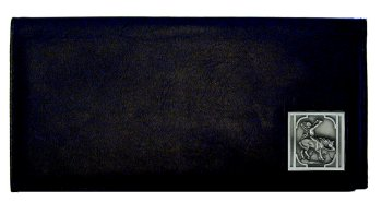 Executive Leather Checkbook Cover - Native American on Horse - Our Executive Checkbook Covers are made of high quality fine grain leather with a sculpted Native American Indian emblem featured on the front panel.