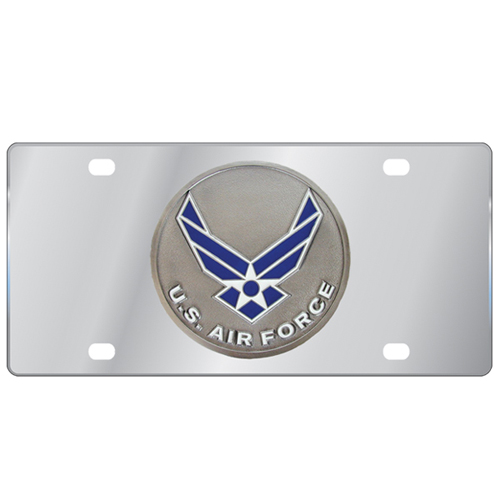 Air Force Logo License Plate - Our stainless steel logo plate is a great way to show off your pride on your vehicle or hung on your wall. The plate features a sculpted metal emblem with enameled finish.