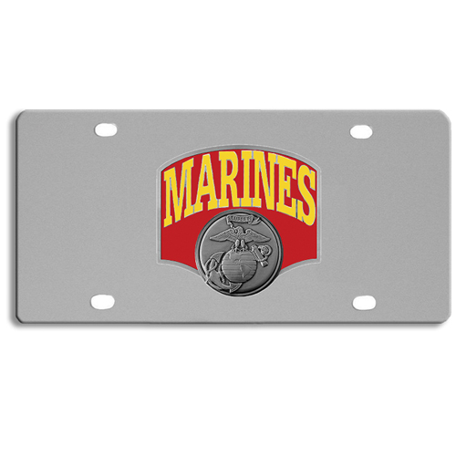 Marines Logo License Plate - Our stainless steel logo plate is a great way to show off your pride on your vehicle or hung on your wall. The plate features a sculpted metal emblem with enameled finish.