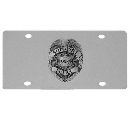 Police Logo License Plate - Our stainless steel logo plate is a great way to show off your pride on your vehicle or hung on your wall. The plate features a sculpted metal emblem with enameled finish.