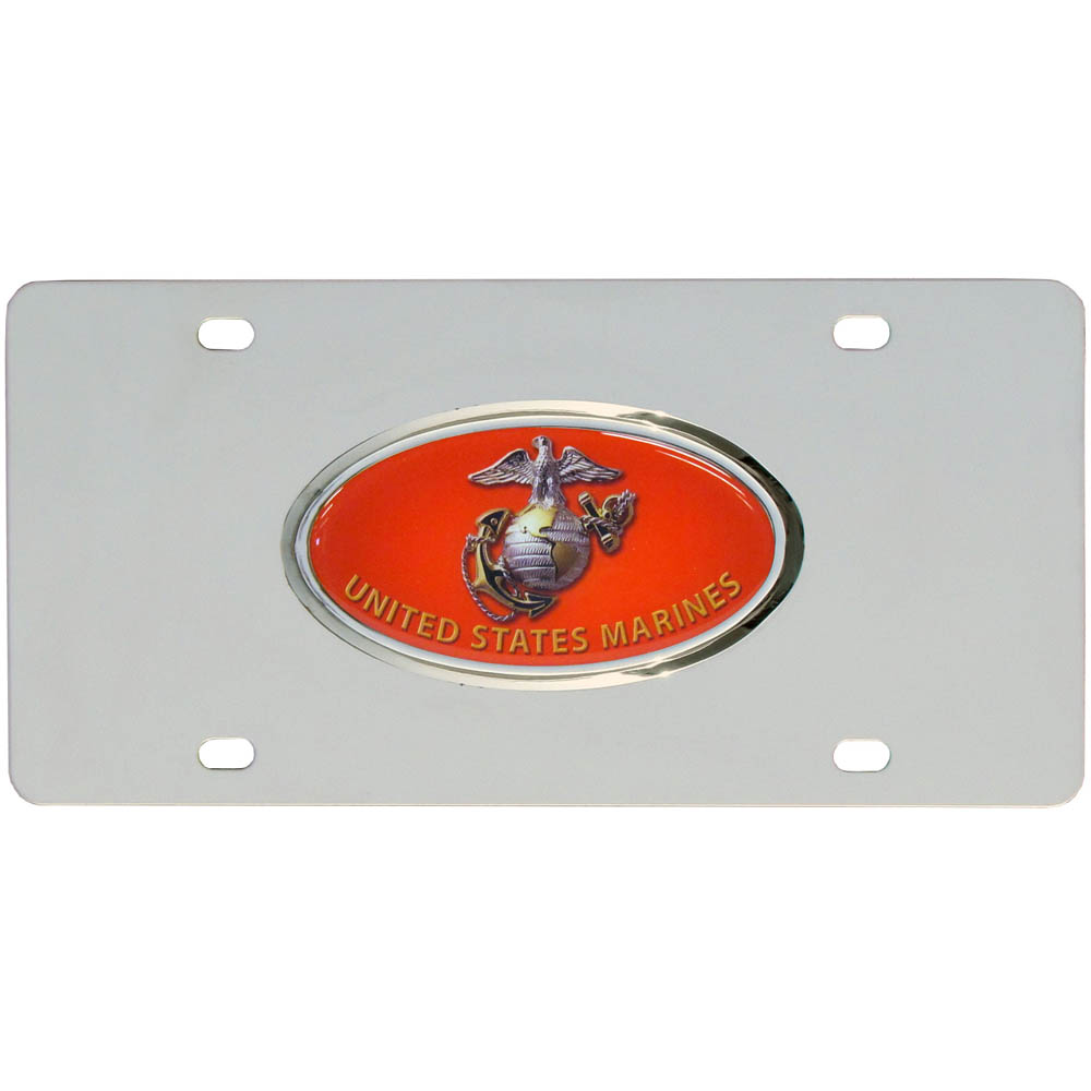 Marines Steel License Plate - High quality stainless steel license plate with raised chrome emblem.