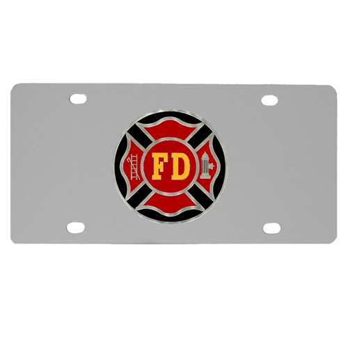 Firefigher Logo License Plate - Our stainless steel logo plate is a great way to show off your pride on your vehicle or hung on your wall. The plate features a sculpted metal emblem with enameled finish.