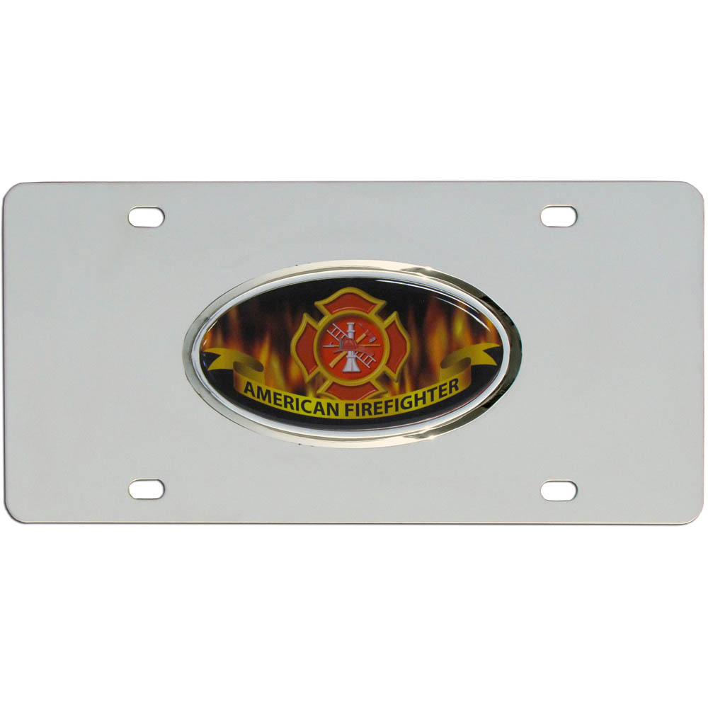 Firefighter Steel License Plate - High quality stainless steel license plate with raised chrome emblem.