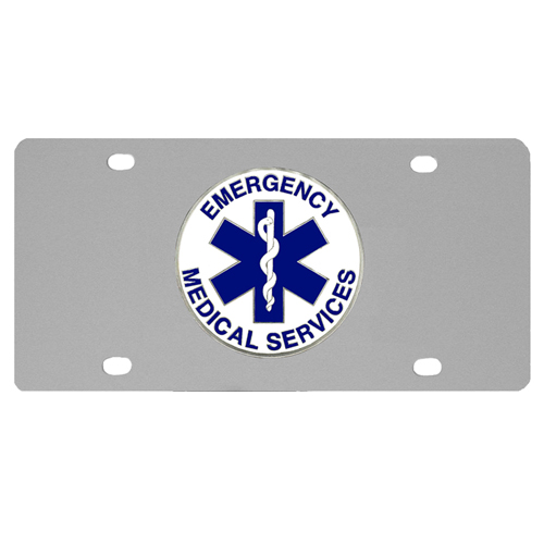EMS Logo License Plate - Our stainless steel logo plate is a great way to show off your pride on your vehicle or hung on your wall. The plate features a sculpted metal emblem with enameled finish.