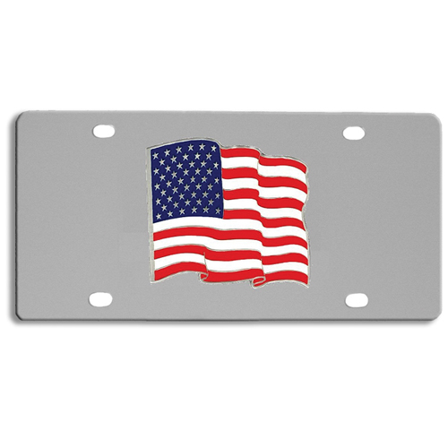 US Flag Logo License Plate - Our stainless steel logo plate is a great way to show off your pride on your vehicle or hung on your wall. The plate features a sculpted metal emblem with enameled finish.