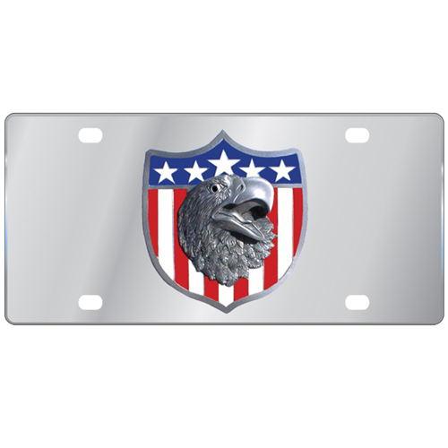 Patriotic Eagle Logo License Plate - Our stainless steel logo plate is a great way to show off your pride on your vehicle or hung on your wall. The plate features a sculpted metal emblem with enameled finish.