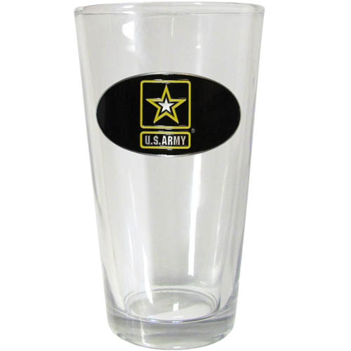 Army Pint Glass - Our Army pint glass features a metal emblem with vibrant enameled finish.