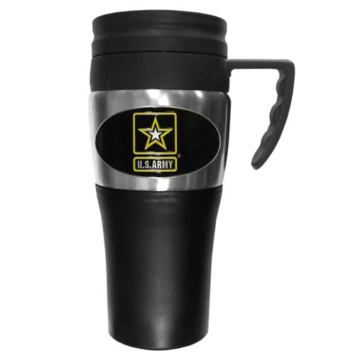 Army Travel Mug - This two-toned 14 oz travel mug with steel accents features a fully cast & enameled Army emblem.