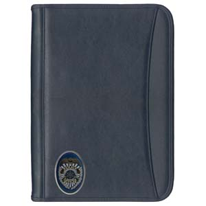 Police Portfolio - Classic portfolio with zippered closure and police badge replica. The portfolio is loaded with credit cards slots, memo slots, pockets and pen slots.