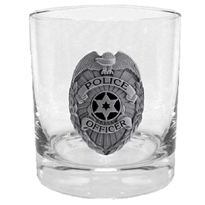 Police Rocks Glass - Our 11 oz round rocks glass features a metal sculpted emblem with enameled finish.