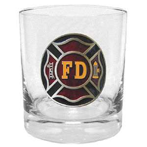 Firefighter Rocks Glass - Our 11 oz round rocks glass features a metal sculpted emblem with enameled finish.