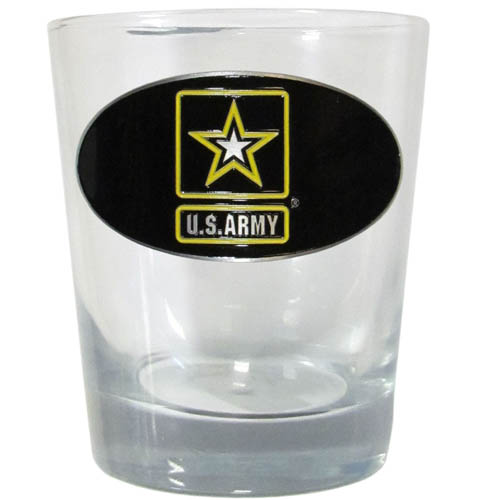 Army Rocks Glass - Our 11 oz rocks glass glass features a metal Army emblem with vibrant enameled finish.