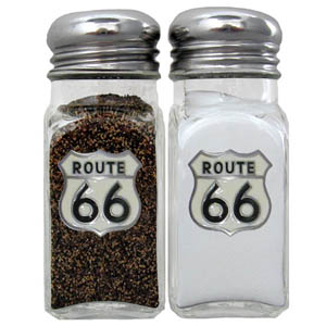 Route 66 Salt and Pepper Shaker - Our diner relica glass salt and pepper shaker sets feature fully cast & enameled Route 66 emblem on each shaker. They are the perfect addition to any outdoor event or indoor get together.
