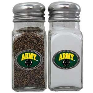Army Salt & Pepper Shakers - Our salt & pepper shaker features a metal saddle with domed logos.