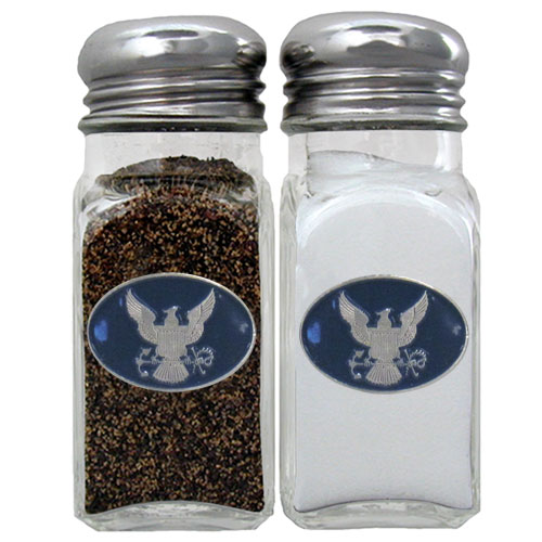 Navy Salt & Pepper Shakers - Our US Navy salt & pepper shakers are a great addition to any backyard BBQ or indoor event. The glass shakers each feature an enameled metal emblem.