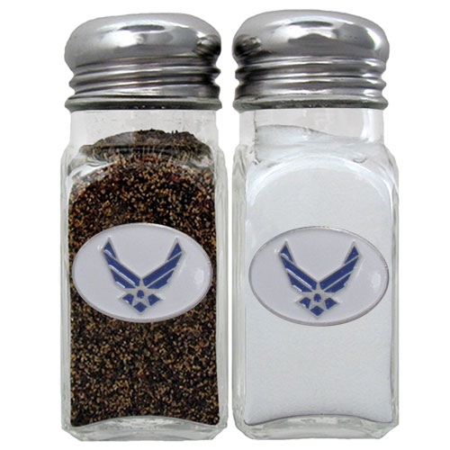 Air Force Salt & Pepper Shakers - Our US Air Force salt & pepper shakers are a great addition to any backyard BBQ or indoor event. The glass shakers each feature an enameled metal emblem.