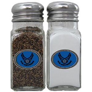 Air Force Salt & Pepper Shakers - Our salt & pepper shaker features a metal saddle with domed logos.