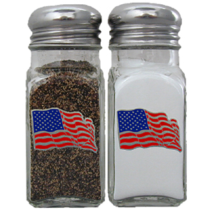 US Flag Salt and Pepper Shaker - Our salt & pepper shaker features a metal saddle with domed logos.