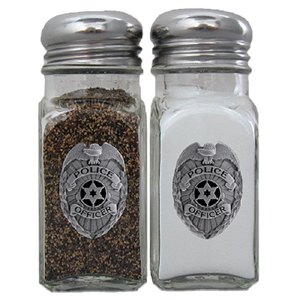 Police Salt and Pepper Shaker - Our salt & pepper shaker features a metal saddle with domed logos.