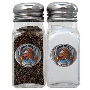 Hog Wild Salt and Pepper Shaker - Our diner relica glass salt and pepper shaker sets feature fully cast & enameled hog wild emblem on each shaker. They are the perfect addition to any outdoor event or indoor get together.