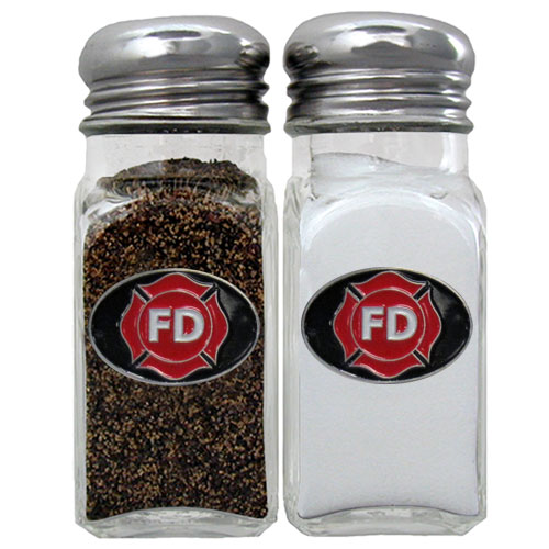 Firefighter Salt and Pepper Shakers - Our firefighter salt & pepper shakers are a great addition to any backyard BBQ or indoor event. The glass shakers each feature an enameled metal emblem.