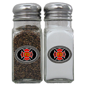 Firefighter Salt and Pepper Shakers - Our salt & pepper shaker features a metal saddle with domed logos.