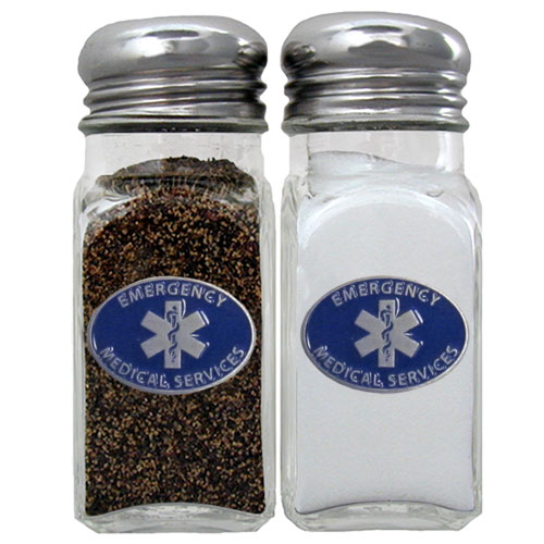 EMS Salt & Pepper Shaker - Our diner relica glass salt and pepper shaker sets feature fully cast & enameled EMS on each shaker. They are the perfect addition to any outdoor event or indoor get together.