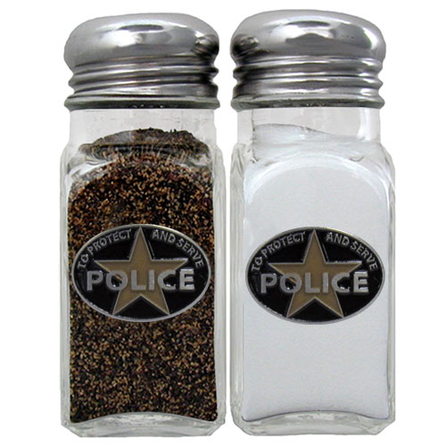Police Salt and Pepper Shakers - Our police salt & pepper shakers are a great addition to any backyard BBQ or indoor event. The glass shakers each feature an enameled metal emblem.