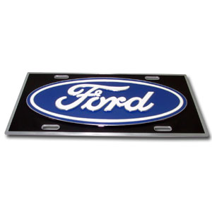 "Ford License Plate - This Ford 3-D zinc license plates are made for your automobile but also great to display at home or work. Our license plates are hand painted and carved with great detail and the colorful, 11 3/4 x 5 13/16"" 3-D design will get them noticed while pre-game tailgating or in bumper-to-bumper traffic."