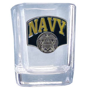 Navy Sq. Shot Glass - Our 2 oz square shot glass features a cast & enameled Navy emblem. Great as a gift or collector's item.