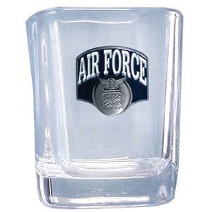 Air Force Sq. Shot Glass - Our 2 oz square shot glass features a cast & enameled Air Force emblem. Great as a gift or collector's item.
