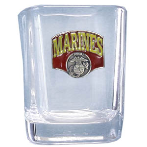 Marines Sq. Shot Glass - Our 2 oz square shot glass features a cast & enameled Marines emblem. Great as a gift or collector's item.