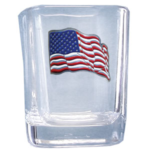 US Flag 2 oz Shot Glass - Our square shot glass features a metal sculpted emblem with enameled finish.