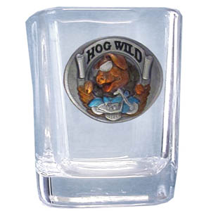 Hog Wild Sq. Shot Glass - Our 2 oz square shot glass features a cast & enameled Hog Wild emblem. Great as a gift or collector's item.