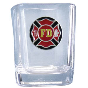 Firefighter Sq. Shot Glass - Our 2 oz square shot glass features a cast & enameled firefighter emblem. Great as a gift or collector's item.