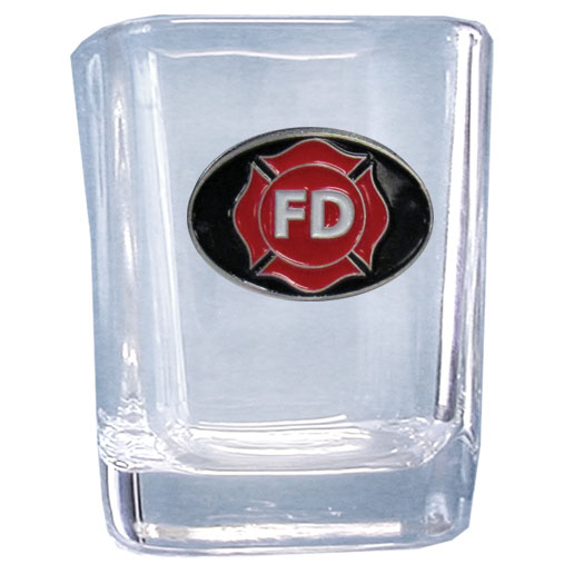 Firefighter Maltese Cross Shot Glass - Our square shot glass features a metal sculpted emblem with enameled finish.
