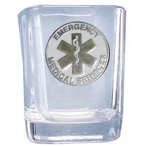 EMS Sq. Shot Glass - Our 2 oz square shot glass features a cast & enameled TMS emblem. Great as a gift or collector's item.