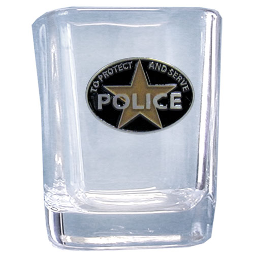 Police Sq. Shot Glass - Our 2 oz square shot glass features a cast & enameled Police emblem. Great as a gift or collector's item.