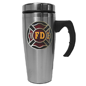 Firefighter Travel Mug - Our stainless steel travel mug features metal sculpted emblem with enameled finish.