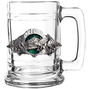 State Colonial Tankard Oregon - Our state-specific glassware have a hand-enameled, 3-D emblem. 15 oz heavy weight glass great for collections or personal use.