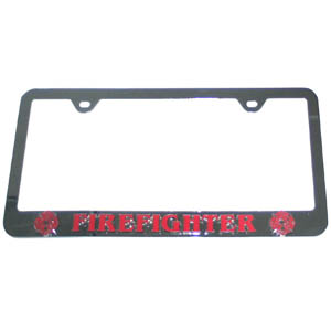 Fire Fighter Tag Frame - This steel tag frame has a 3D enameled school logo.
