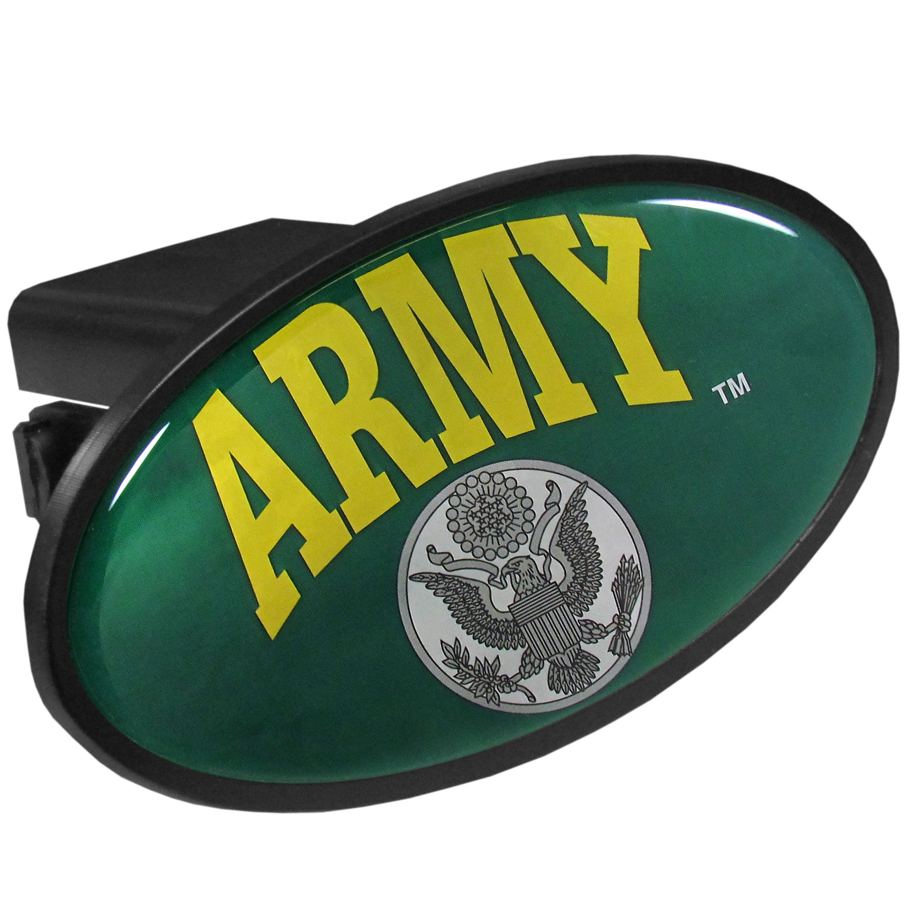 Army Plastic Hitch - Strong plastic hitch cover that includes hitch pin and features a school logo dome. Fits class III receivers.