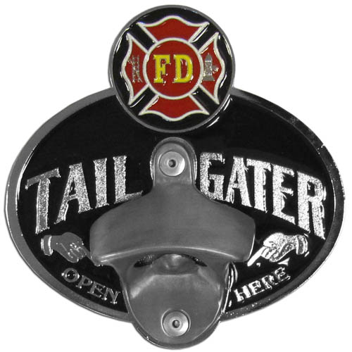 Firefighter Tailgater Hitch Cover - Our tailgater hitch cover   features a functional bottle opener and team emblem with enameled finish.